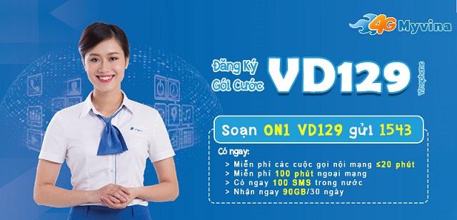 Đăng ký gói VD129 Vinaphone Miễn phí GỌI tặng thêm 90GB DATA
