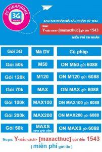 Đăng ký mạng 3G của Vinaphone với các gói giới hạn dung lượng: